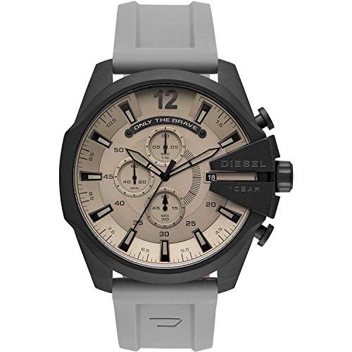 Diesel Herren Analog Quarz Uhr mit Silikon Armband DZ4496