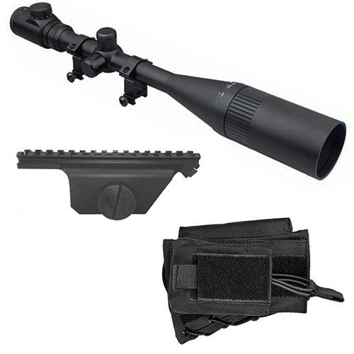 M1SURPLUS Optics Kit for M1A - Includes Hi-Power 8-32x50 Illuminated Rifle Scope + Sun Shade + Flip-Up Lens Covers + Scope Rings + Black Cheekrest Stock Riser + Scope Mount for M1A M14 Rifles