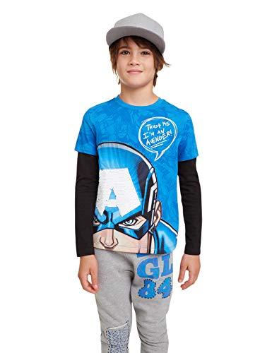 Desigual Jungen T-Shirt John Langarmshirt, Blau (Diva Blue 5139), 152 (Herstellergröße: 11/12)