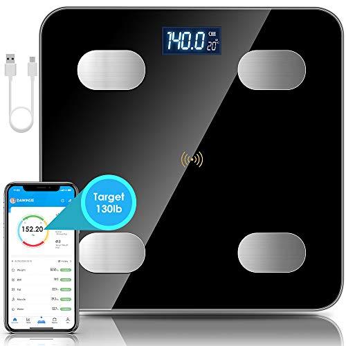 DaWinsie - Báscula electrónica electrónica digital, Bluetooth, báscula conectada electrónica digital, multifunción digital con APP, carga USB, pantalla LCD, 180 kg/400 lb