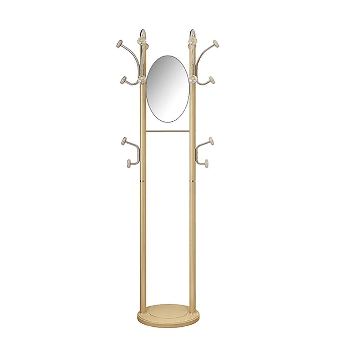修士号人工方法論ZWJ コートラックフロアホーム寝室のシンプルな服ラックミラー付き多機能モバイルドレッシングミラーハンガー (Color : Gold)