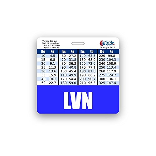 LVN Badge Buddy Horizontal w/Height & Weight Conversion Charts (Blue)