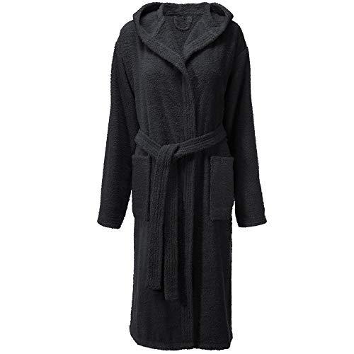 CelinaTex Fehmarn - Albornoz con capucha para mujer, algodón, rizo, talla XS - XL Negro XS