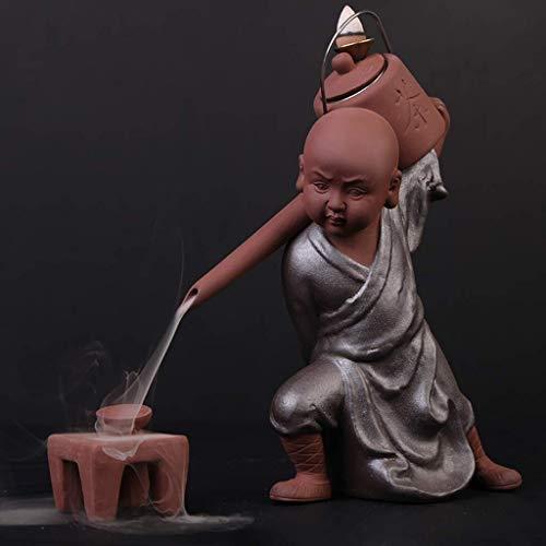 Accessori per la vita quotidiana Bruciaincenso Tè Decorazione artistica Beccuccio Pentola Bruciatore di incenso a riflusso Decorazione fluida in ceramica Piccolo monaco Bruciatore di incenso in leg