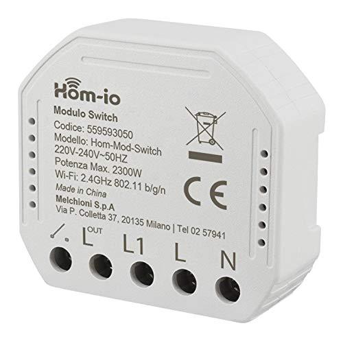 Hom-io HOM-MOD-SWITCH 1X10A Modulo WiFi, Interruttore 1 canale smart contatto pulito per punti luce e dispositivi elettrici, compatibile Alexa e Google Home, Controllo App Hom-io e Smart Life