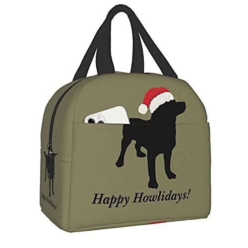 Shichangwei Simpatico cane da laboratorio nero con cappello da Babbo Natale natalizio Borsa per il pranzo Scatola per il pranzo riutilizzabile a tenuta stagna isolata per uomo donna,