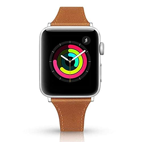 RVTYR Matino - Correa de piel para reloj compatible con Apple Band 4 mm, 40 mm, 38 mm, 42 mm, compatible con Apple Series 5, 4, 3 y 6 correas de repuesto