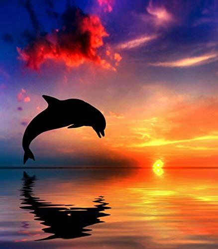Adult Puzzles 1000 Pezzi Puzzle di Legno Bambini-Delfini al Mare al Tramonto-Bambino DIY Gioco Casual di Arte Giocattoli Interessanti Amico Famiglia Adatto