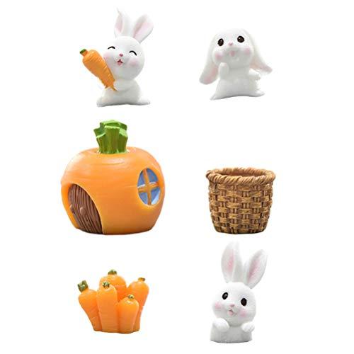 Abaodam 6 adornos de resina de Pascua adorables con diseño de conejito de Pascua