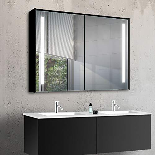 Lux-Aqua MBC10070DP Armadietto da Bagno, Alluminio, Nero/Specchio, 1000x700x135mm