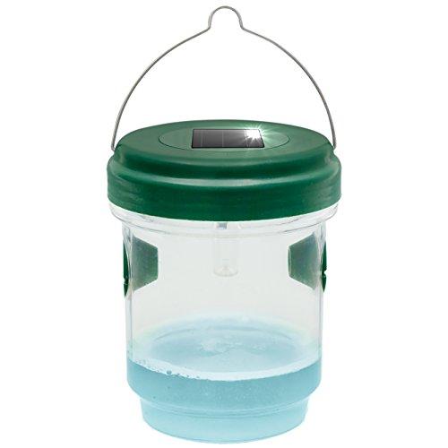 Gardigo wespenval en muggenval met licht op zonne-energie, wespen met lokstof vangen, led-lamp lokt muggen aan, voor binnen en buiten