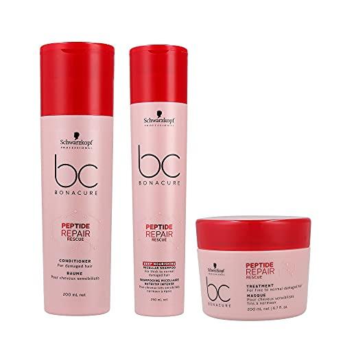 Schwarzkopf Bonacure Peptide Repair Rescue Deep Nourishing Micellar Shampoo 250 ml, balsamo 200 ml e trattamento 200 ml