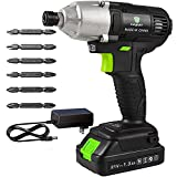 Letton Power Impact Driver Kit 21V Lithium Ion,1/4' All-metal Hex Chuck,0-2800RPM Variable Speed, 1.3 Ah Battery and Charger Included, 320N.m/2832 in-lbs with 6 Piece Drive Bits