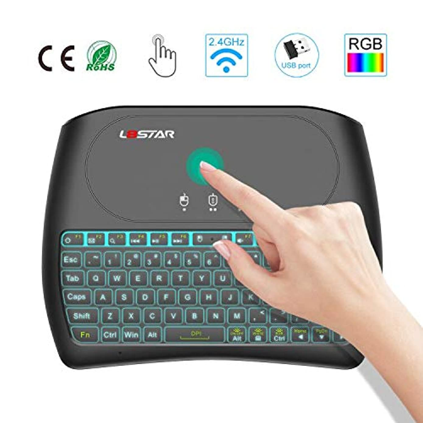 Mini Wireless Touchpad with Keyboard- 2.4Ghz Gaming Keyboard Air Mouse USB Handheld Rechargeable Multimedia Remote Control 7 Colors Keyboard Compatible with PC/Google Android TV Box and More