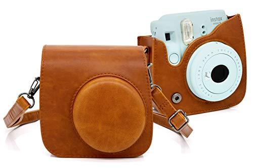 MyGadget Kunstleder Tasche für Fujifilm Instax Mini 9/8 Sofortbildkamera - Schutzhülle aus PU Leder Kamera Hülle Zubehör Case mit Riemen in Braun