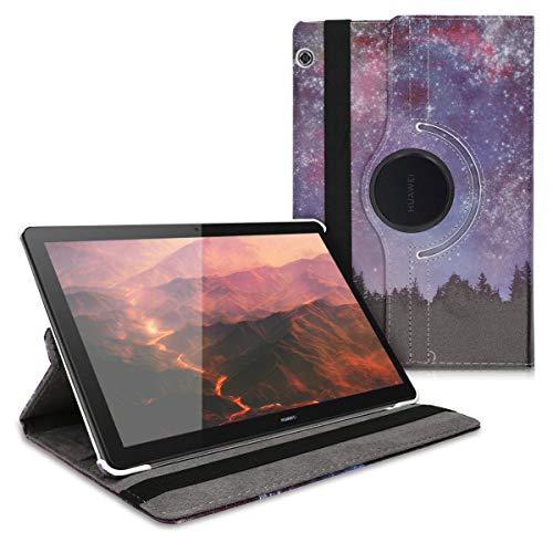kwmobile Hülle kompatibel mit Huawei MediaPad T5 10-360° Tablet Schutzhülle Cover Case - Sternenhimmel Paar Blau Pink Schwarz
