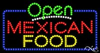 メキシコ料理17x 32x 1インチアニメーション点滅LEDウィンドウサイン