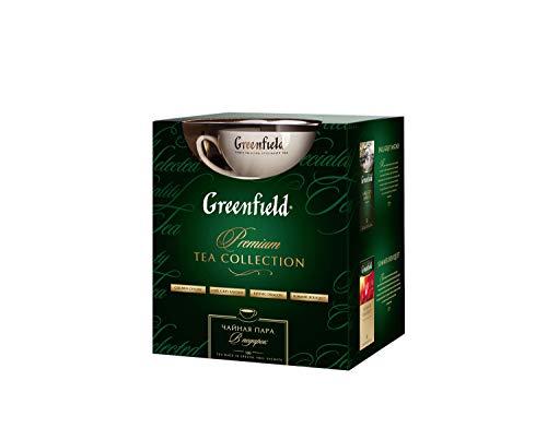 GREENFIELD TEE SET | Premium Tee | mit Tasse zuzüglich | Geschenk | 100 Teebeutel | Schwarzer, grüner und Kräutertee