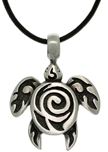 Jewelry Trends Pewter Sea Turtle with Tribal Spiral Unisex Pendant on 18 Inch Black Leather Necklace