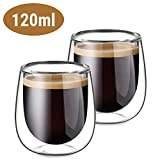 Glastal Double Walled Espresso Coffee Glass Cups Glasses Borosilicate Glasses for Tea Dessert 120ml Set of 2