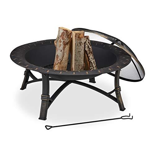 Relaxdays Feuerschale mit Funkenschutz, HxD: 52 x 90 cm, mit Schürhaken, Garten & Terrasse, Outdoor Feuerstelle, schwarz