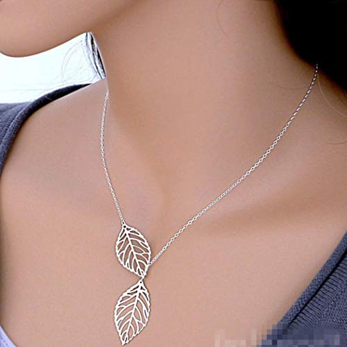 TseenYi Collar de moda simple hueco con colgante de hoja de árbol para mujeres y niñas (plata)