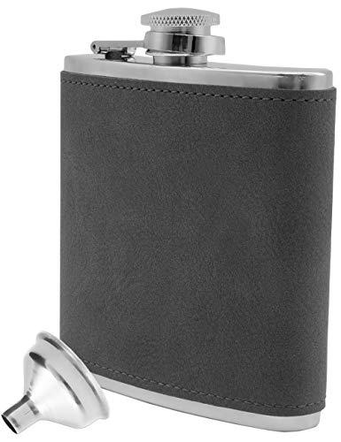 Outdoor Saxx® - Fiaschetta in acciaio inox, design elegante in pelle scamosciata, con bandiera, tasca sul petto, bottiglia per grappa, imbuto incluso, 175 ml, colore: grigio