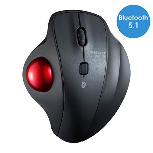 SANWA (Japan Brand) Bluetooth Wireless Ergonomic Trackball Mouse, Silent Noiseless Optical Mice, (600/800/1200/1600 DPI,Washable 34mm trackball) Compatible with MacBook, Laptop, Windows, Support iOS13