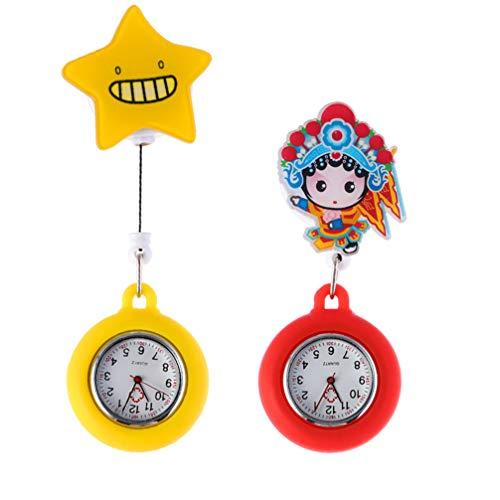ibasenice Uds Relojes de Enfermera Retráctiles Relojes de Enfermera Fob Relojes de Pin de Solapa Reloj de Bolsillo con Solapa Colgante con Clip para Médicos Personal de La Clínica