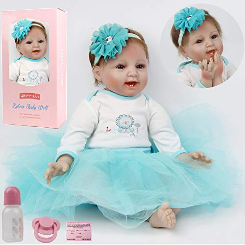 ZIYIUI Muñecas Reborn 22 Pulgadas 55cm Bebé Reborn Silicona Blanda Vinilo Realistas Bebes Reborn Niña Recien Nacidos USA un Vestido Azul Chica Juguete