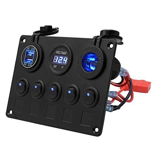 RUIZHI 5 Panel de Interruptor Basculante 12V/24V Puerto de Cargador USB Dual con Voltímetro LED Digital 5 Gang Rocker Switch Panel para Coche Barco Marino