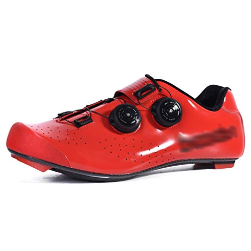 Zapatos de Bicicleta Zapatillas De Ciclismo, Calzado De Ciclismo De Carretera De Fibra De Carbono, Zapatas con Cerradura Profesional Doble Pomo, Calzado De Bicicleta (Color : Red, Size : US-7.5)
