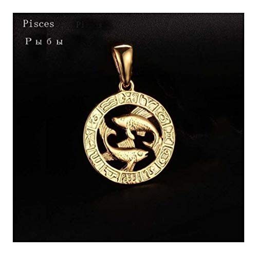 12 Zodiac Sign Gold Colour Constellation Leo Scorpio Aquarius Pendant Water Wave Chain Necklace Accessories (Main Stone Color : Pendant 45cm chain, Metal Color : Pisces)