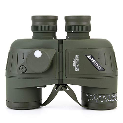 10x50 Prismáticos con Brújula Telémetro Binoculares Impermeables a Prueba de Niebla para Adultos de Larga Distancia Prisma BAK4 para Observación de Aves, Caza,10x50
