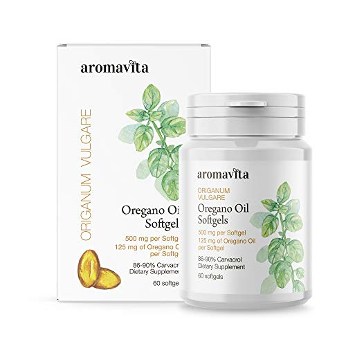 Aromavita Oregano Oil Capsules – Non GMO and Gluten Free, Greek Oregano Oil Containing 108mg Per Serving – Over 86-90% Carvacrol – Oregano Oil Food Supplement – 60 Softgels