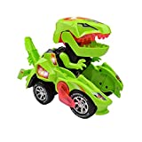 FOHYLOY Transforming Dinos Car, Dinosaurier-Spielzeug, das Sich in EIN Rennauto verwandelt, Lernspielzeug für Kinder, Jungen und Mädchen zwischen 3 und 6 Jahren (Grün)