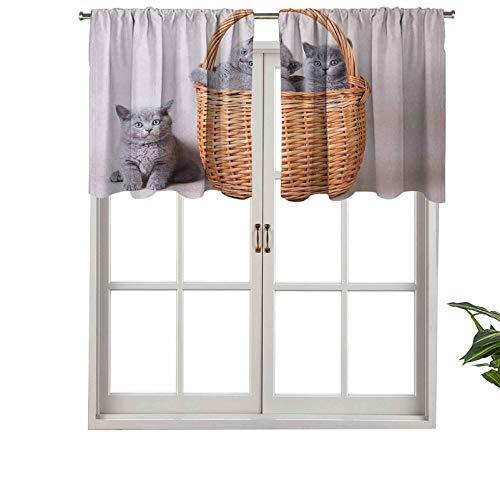 Hiiiman Cenefa de cortina con aislamiento térmico para tres gatos británicos en cesta, adorables animales de bebé, juego de 1, 106,7 x 45,7 cm para dormitorio, baño y cocina