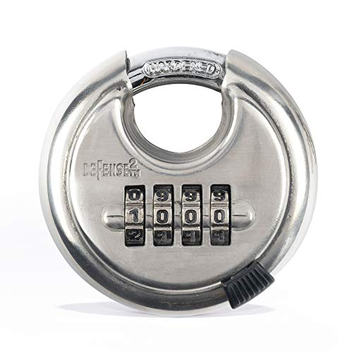 """Defense2 - Combination Disc Padlock - Resettable & Programmable 4 Digit Combo - Heavy Duty - Cut & Corrosion Resistant - Indoor or Outdoor Storage Units - 2 3/4"""" Stainless Steel Discus Security Lock"""