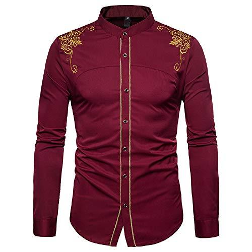 Jinyuan Camisas De Vestir para Hombre con Cuello Alto Bordado De Flores De Oro Camisa de Hombre Camisa Casual De Manga Larga con Botones Ajustados Vino Tinto M