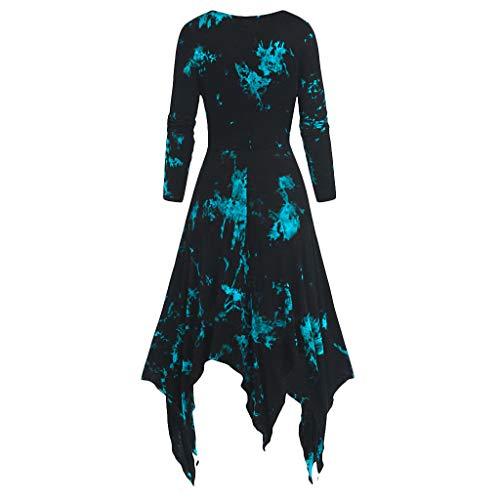 Janly Clearance Sale Vestido de mujer, vestido de mujer, talla grande, estampado de tie-dye de manga larga, pañuelo gótico con cordones (verde-M)