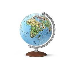 Globe pour enfants IC 3010 : Globe de l'humidité pour enfants, 30 cm, avec des illustrations informatives, méridian métal, pied en bois foncé, y compris le livret d'accompagnement (Globe pour enfants)