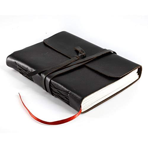 Diario de cuero hecho a mano, cuaderno de escritura, cuaderno diario encuadernado para hombres y mujeres, papel sin forro, bloc de notas de regalo para artista, boceto (negro liso, 7 x 5)