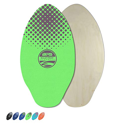 BPS 'Gator' 30 Inch No Wax Needed Skim Board - High Gloss Coated Wood Skimboard with EVA Pads - Skim Board for Beach or Flatland (Green w/Purple Accent)