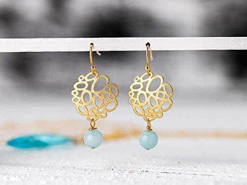Amazonit-Ohrringe türkis-gold, vergoldete Ohr-Hänger, Edelstein-Schmuck, leicht, zierlich, blau, Geschenk für Sie