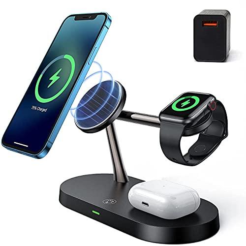 Xflelectronic Soporte de Carga inalámbrico, Cargador inalámbrico magnético 4 en 1, estación de Carga para iPhone 12/12 Pro / 12 Pro MAX / 12 Mini/IWatch SE / 6/5/4/3/2 / Airpods 2 / Pro