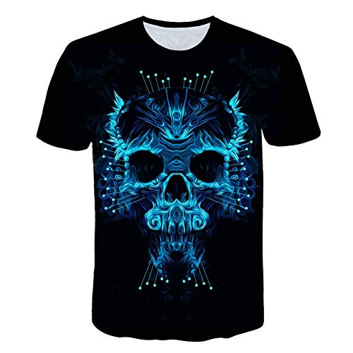 XIAOBAOZITXU T-Shirt Große Mode Männer Und Frauen Unisex-Liebhaberkleidung Abstrakter Schädel Blau Schmal Geschnitten Cooles Lustiges Sommersport-T-Shirt XXXL