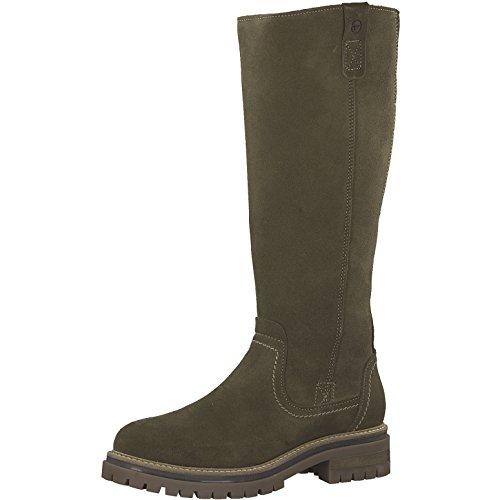Tamaris Damen Stiefel 26617-21,Frauen Boots,Langschaftstiefel,gefüttert,Reißverschluss,Blockabsatz 3.5cm,Olive,EU 39