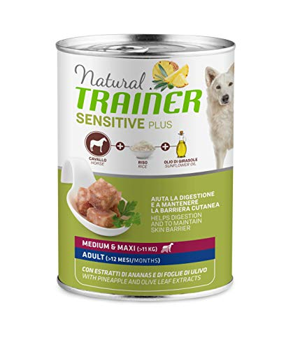 Trainer Natural Sensitive Plus - Cibo Umido per Cani Medium-Maxi Adulti con Cavallo e Riso - Pack 12 x 400gr - 3,6kg