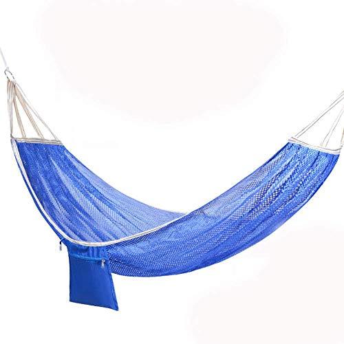 WYJW Anti Rollover Dubbele IJs Zijde Swing Outdoor Dubbele Mesh Ademende Hangmat Volwassen Thuis Slaapzaal Hangende Stoel (Blauw)