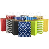 Hallmark 12' Large Paper Gift Bag Assortment, Pack of 12 in Blues, Red, Yellow, Black - Solids and Geometric Patterns for Birthdays, Father's Day, Holidays and More
